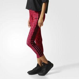 Adidas Coral-Red/Black Snake Print Leggings